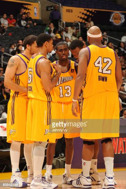 The Los Angeles DFenders huddle together during a break in the action of their game against the Tulsa 66ers at Staples Center on December 7 2008 in...