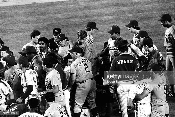 The Los Angeles Dodgers and New York Mets have a bench clearing fight during their game on May 28 1986 at Shea Stadium in Flushing New York