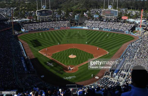 The Los Angeles Dodgers and San Francisco Giants play on Opening Day at Dodger Stadium on March 29 2018 in Los Angeles California