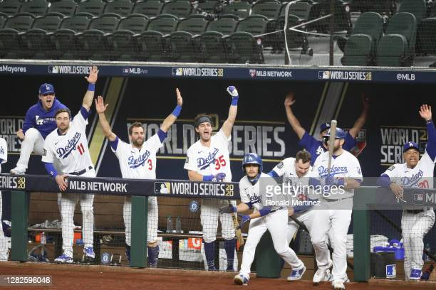 The Los Angeles Dodgers celebrate a runs scored by Mookie Betts , against the Tampa Bay Rays during the sixth inning in Game Six of the 2020 MLB...