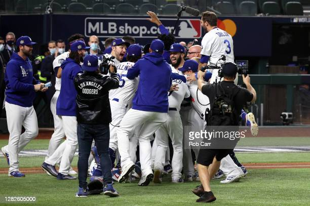 The Los Angeles Dodgers celebrate after defeating the Tampa Bay Rays 31 in Game Six to win the 2020 MLB World Series at Globe Life Field on October...