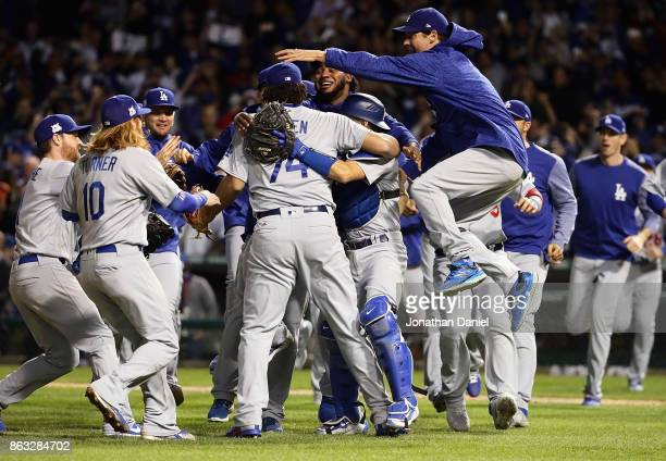 The Los Angeles Dodgers celebrate defeating the Chicago Cubs 111 in game five of the National League Championship Series at Wrigley Field on October...