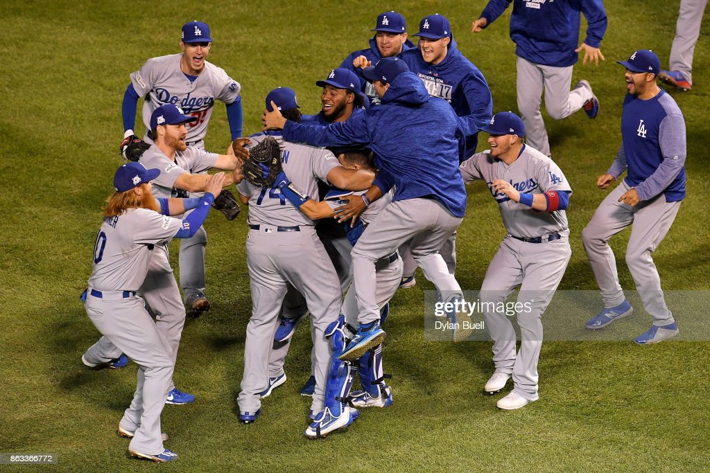 The Los Angeles Dodgers celebrate defeating the Chicago Cubs 11-1 in game five of the National League Championship Series at Wrigley Field on October 19, 2017 in Chicago, Illinois. The Dodgers advance to the 2017 World Series.