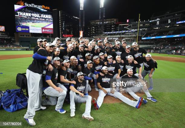 The Los Angeles Dodgers celebrate winning Game Four of the National League Division Series with a score of 62 over the Atlanta Braves at Turner Field...