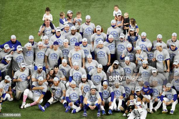 The Los Angeles Dodgers pose for a photo following their 4-3 victory against the Atlanta Braves in Game Seven of the National League Championship...