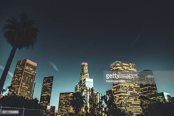 the Los Angeles downtown skyline on the night
