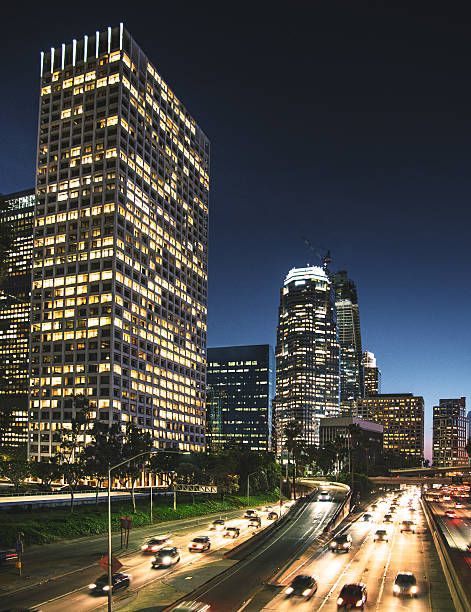 The Los Angeles Downtown Skyline On The Night Wall Art