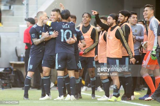 The Los Angeles FC celebrate a goal by Eduard Atuesta of Los Angeles FC during the second half of a game against the Seattle Sounders at Banc of...