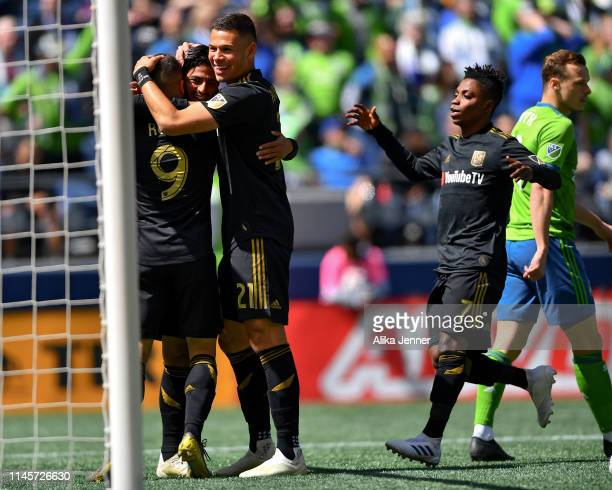 The Los Angeles FC celebrate after scoring against the Seattle Sounders during the first half of the match at CenturyLink Field on April 28 2019 in...