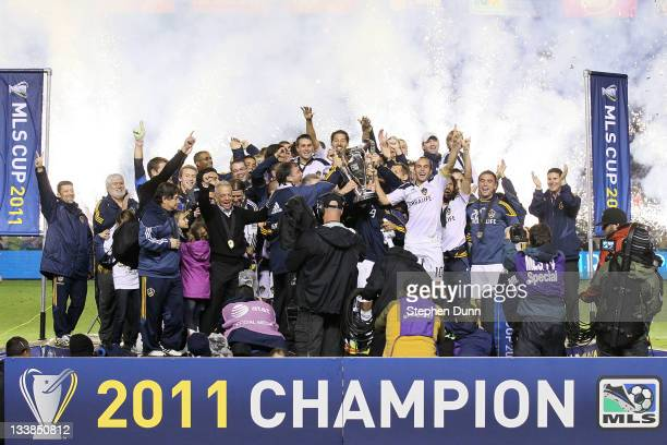 The Los Angeles Galaxy celebrate after defeating the Houston Dynamo 10 in the 2011 MLS Cup at The Home Depot Center on November 20 2011 in Carson...