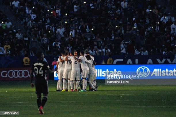 The Los Angeles Galaxy huddle before the start of the second of their game against Sporting Kansas City at StubHub Center on April 8 2018 in Carson...