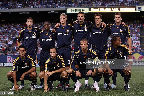 The Los Angeles Galaxy pose for a team photo before taking on the New York Red Bulls at Giants Stadium on August 18 2007 in East Rutherford New Jersey