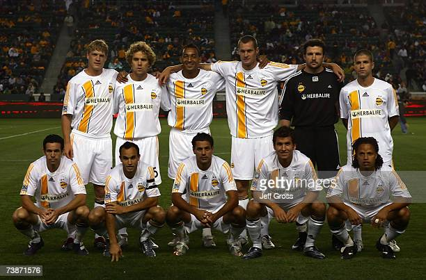 The Los Angeles Galaxy pose for a team photo prior to their 2007 MLS home opening game against FC Dallas at Home Depot Center on April 12, 2007 in...
