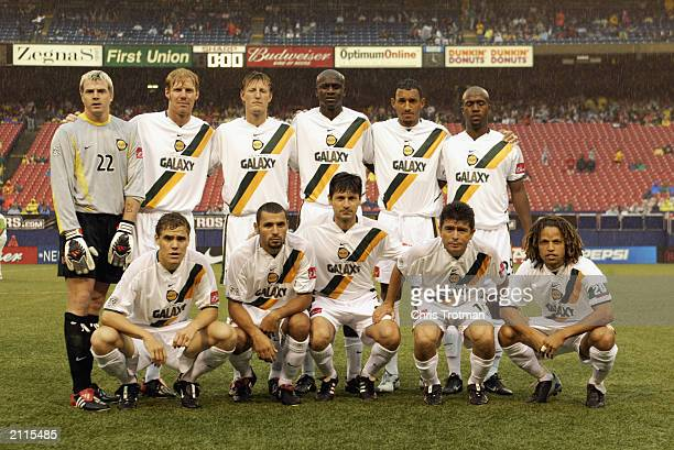 The Los Angeles Galaxy poses for a team photo before the game against the New Jersey/New York Metrostars at Giants Stadium on June 21 2003 in East...