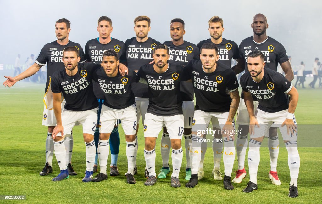 The Los Angeles Galaxy starting lineup during the Los Angeles Galaxy's MLS match against San Jose Earthquakes at the StubHub Center on May 25, 2018 in Carson, California. The Los Angeles Galaxy won the match 1-0