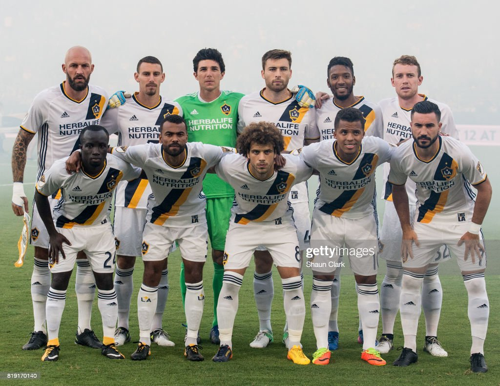 The Los Angeles Galaxy starting lineup for the Los Angeles Galaxy's MLS match against Vancouver Whitecaps at the StubHub Center on July 19, 2017 in Carson, California. Vancouver won the match 1-0