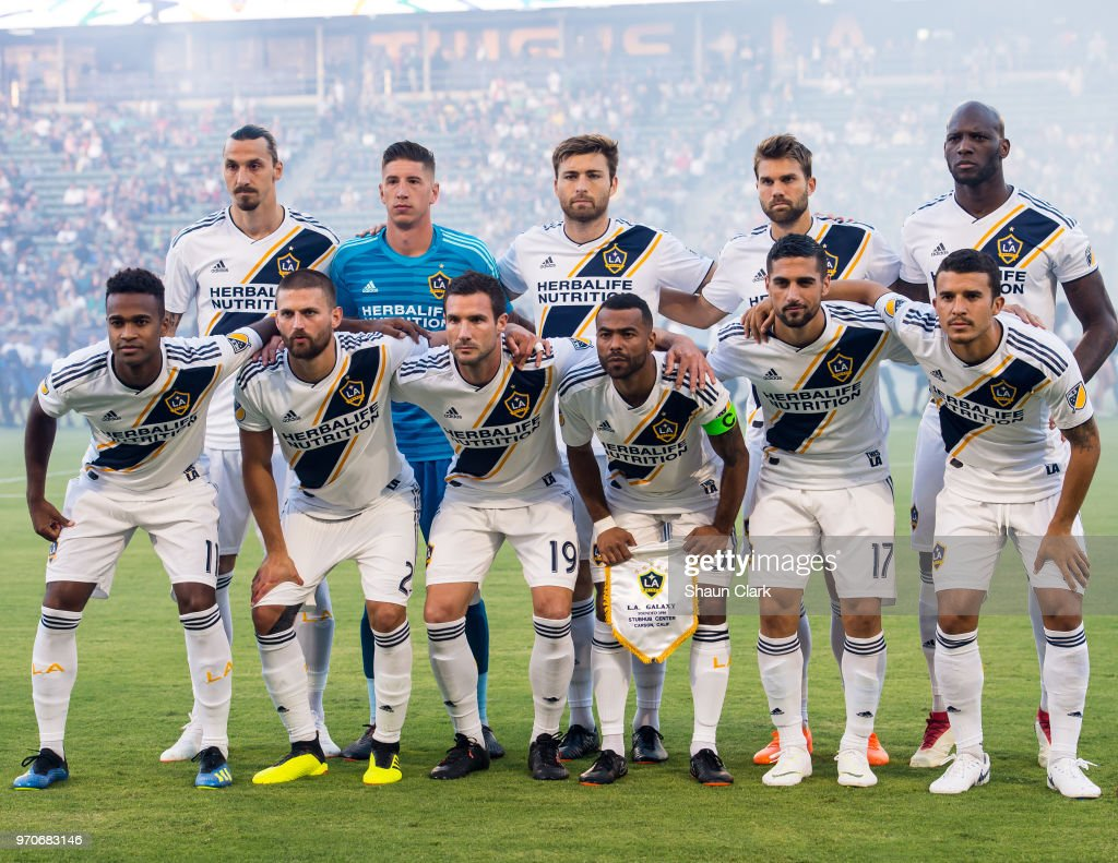The Los Angeles Galaxy starting lineup for the Los Angeles Galaxy's MLS match against FC Dallas at the StubHub Center on June 9, 2018 in Carson, California. Los Angeles Galaxy won the match 3-0