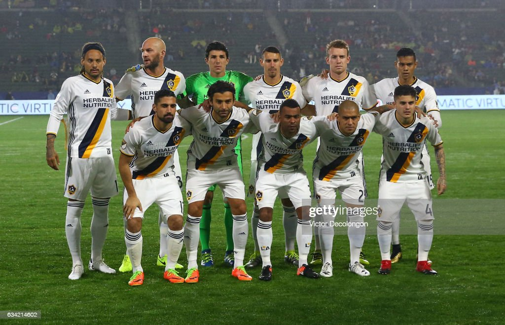 The Los Angeles Galaxy Starting XI pose for a group photo prior to their friendly match against Club Tijuana at StubHub Center on February 7, 2017 in Carson, California.