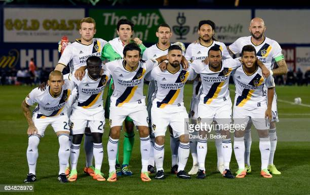 The Los Angeles Galaxy starting XI pose for a group photo prior to their California Clasico game against the San Jose Earthquakes at Cashman Field on...