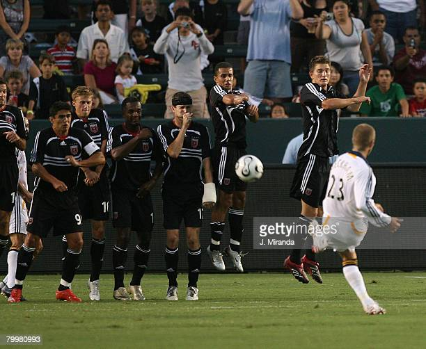 The Los Angeles Galaxy's David Beckham scores in the 27th minute against DC United in the semifinal Superliga matchThe Galaxy won 20 against DC...