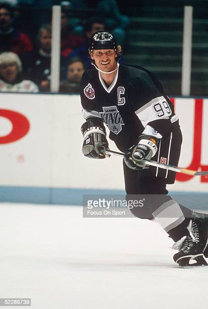The Los Angeles Kings captain Wayne Gretzky skates against the New Jersey Devils at the Meadowlands Arena circa the 1992-93 season in East...