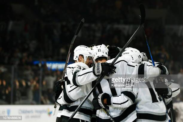 The Los Angeles Kings celebrate a 20 win over the Carolina Hurricanes at Staples Center on December 02 2018 in Los Angeles California