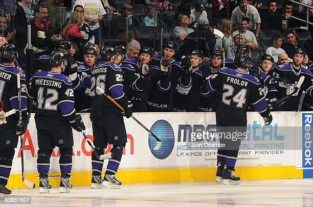 The Los Angeles Kings celebrate a first period goal from Jarret Stoll during the game against the the Chicago Blackhawks on November 29, 2008 at...