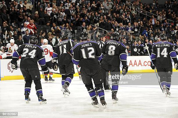 The Los Angeles Kings celebrate a goal against the Ottawa Senators during the game on December 3, 2009 at Staples Center in Los Angeles, California.