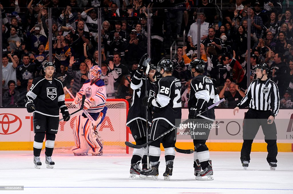 The Los Angeles Kings celebrate after a goal against the Edmonton Oilers at Staples Center on April 6, 2013 in Los Angeles, California.