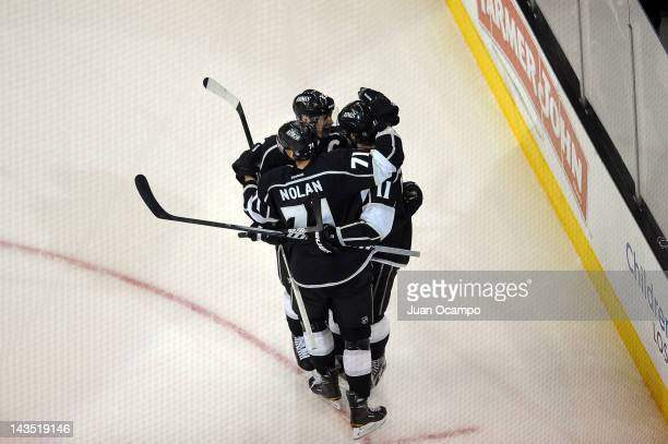The Los Angeles Kings celebrate after a goal against the Vancouver Canucks in Game Four of the Western Conference Quarterfinals during the 2012 NHL...