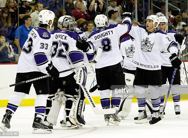 The Los Angeles Kings celebrate after defeating the New York Islanders 42 during a preseason game on September 22 2009 at the Sprint Center in Kansas...