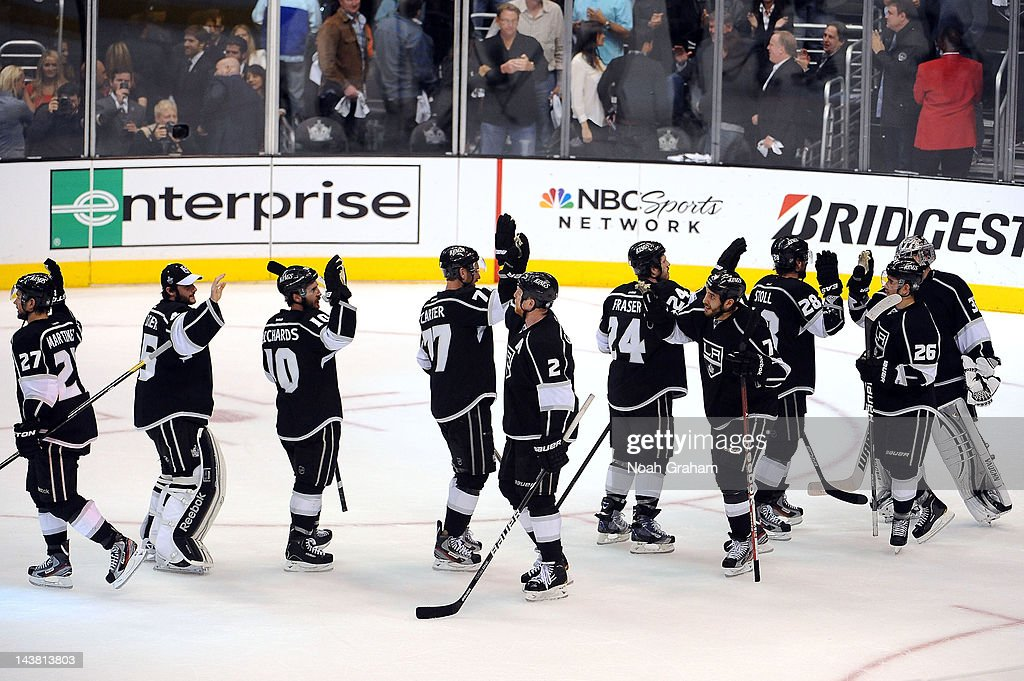 The Los Angeles Kings celebrate after defeating the St. Louis Blues in Game Three of the Western Conference Semifinals during the 2012 NHL Stanley Cup Playoffs at Staples Center on May 3, 2012 in Los Angeles, California.