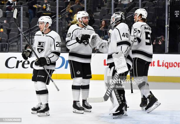 The Los Angeles Kings celebrate after defeating the Vegas Golden Knights at TMobile Arena on March 01 2020 in Las Vegas Nevada