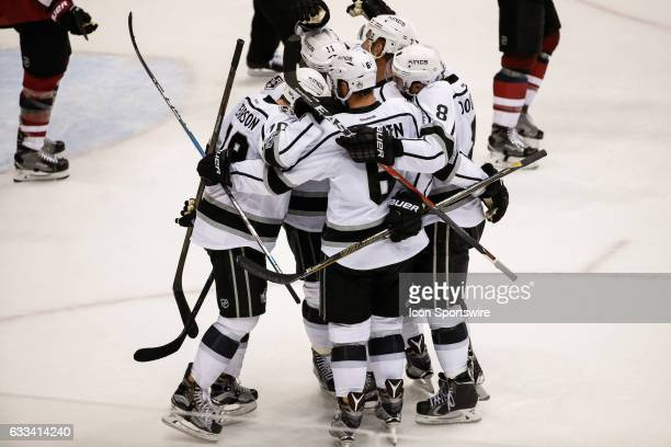 The Los Angeles Kings celebrate after scoring during the NHL hockey game between the Los Angeles Kings and the Arizona Coyotes on January 31 2017 at...