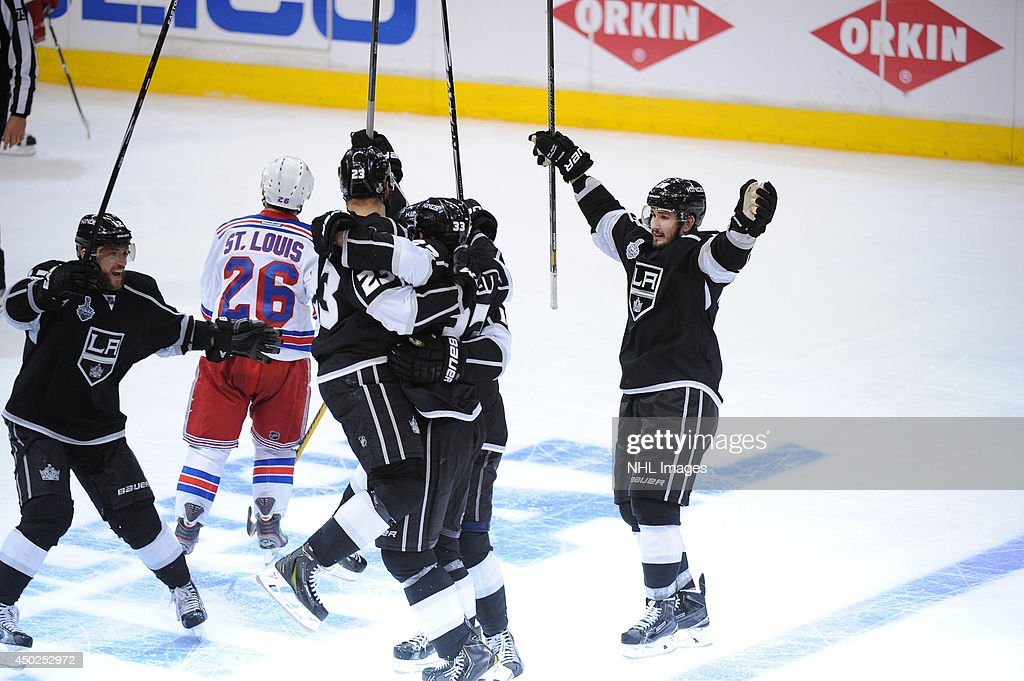 The Los Angeles Kings celebrate after scoring the game-winning goal against the New York Rangers in the second overtime period of Game Two of the Stanley Cup Final during the 2014 Stanley Cup Playoffs at Staples Center on June 7, 2014 in Los Angeles, California.