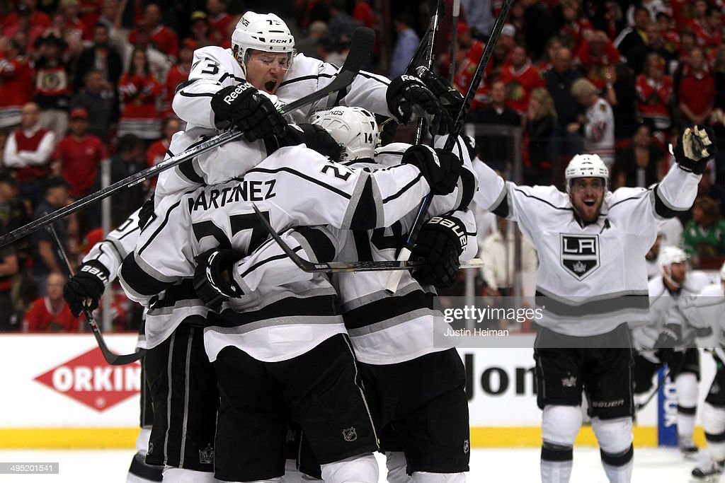 The Los Angeles Kings celebrate defeating the Chicago Blackhawks 5 to 4 in overtime in Game Seven to win the Western Conference Final in the 2014 Stanley Cup Playoffs at United Center on June 1, 2014 in Chicago, Illinois.