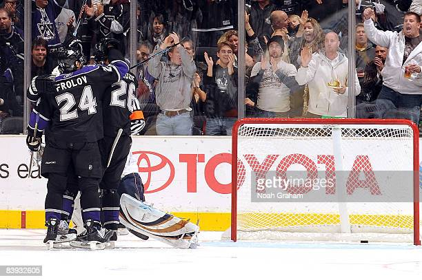 The Los Angeles Kings celebrates a second period goal from Michal Handzus against the Edmonton Oilers during the game on December 5 2008 at Staples...