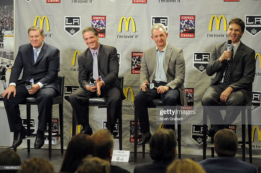 The Los Angeles Kings kick-off the club's 2012-13 Regular Season with a press conference featuring(L to R) Kings Governor Tim Leiweke, President/General Manager Dean Lombardi , Head Coach Darryl Sutter and President, Business Operations Luc Robitaille at Staples Center on January 10, 2013 in Los Angeles, California.