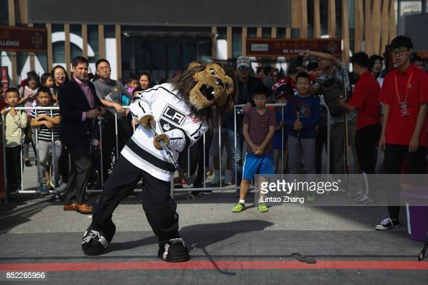 The Los Angeles Kings mascot Bailey play game with fans at the NHL Fan Fest before the preseason game between the Los Angeles Kings and the Vancouver...