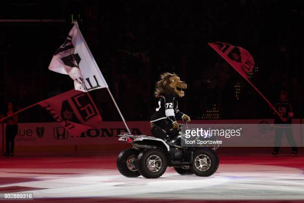 The Los Angeles Kings mascot Bailey rides an ATV onto the ice after the Los Angeles Kings win over the Detroit Red Wings on March 15 at STAPLES...