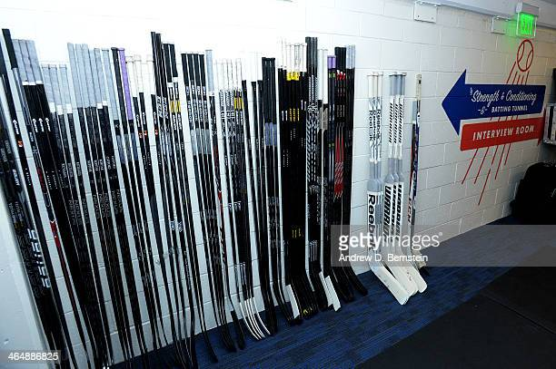 The Los Angeles Kings sticks are set out in the hallway prior to practice in preparation for the 2014 Coors Light NHL Stadium Series against the...