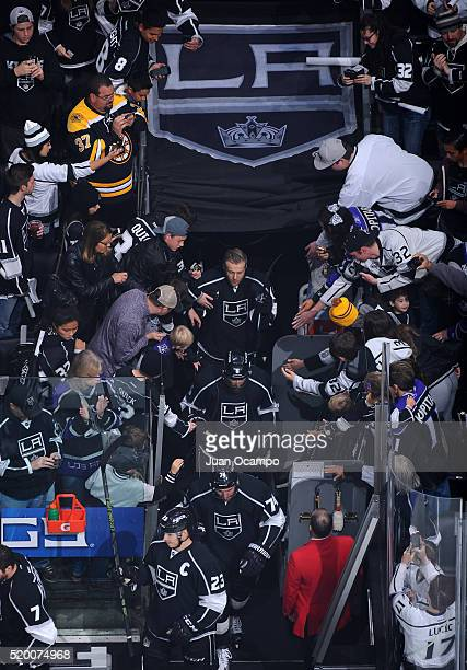 The Los Angeles Kings take the ice for warm ups before the game against the Winnipeg Jets on April 9 2016 at STAPLES Center in Los Angeles California