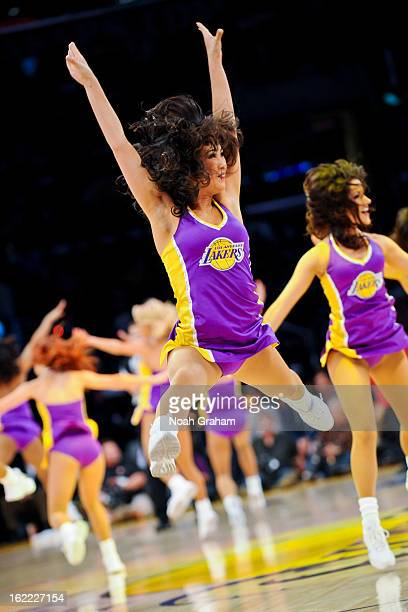 The Los Angeles Laker Girls perform during a game between the Boston Celtics and Lakers at Staples Center on February 20 2013 in Los Angeles...