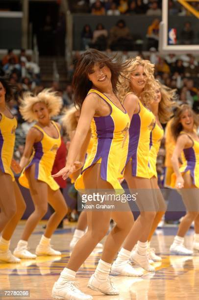 The Los Angeles Laker Girls perform during the game against the Milwaukee Bucks on November 28 2006 at Staples Center in Los Angeles California The...