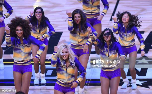 The Los Angeles Laker girls perform during the NBA AllStar Game as a part of 2018 NBA AllStar Weekend at STAPLES Center on February 18 2018 in Los...
