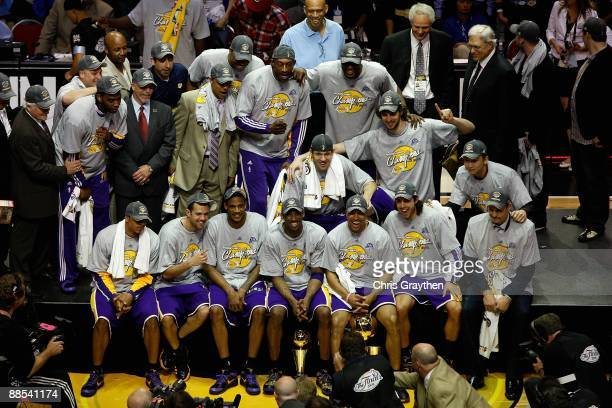 The Los Angeles Lakers celebrate after defeating the Orlando Magic in Game Five of the 2009 NBA Finals on June 14 2009 at Amway Arena in Orlando...