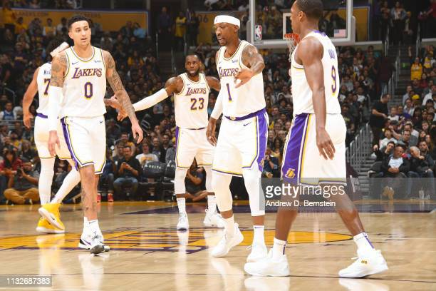 The Los Angeles Lakers celebrate during the game against the Sacramento Kings on March 24 2019 at STAPLES Center in Los Angeles California NOTE TO...