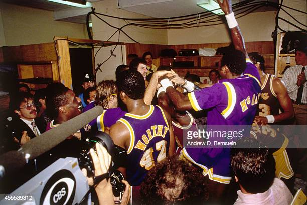 The Los Angeles Lakers celebrate the 1985 NBA Championship after defeating the Boston Celtics in Game 6 of the NBA FInals on June 9 1985 at the...