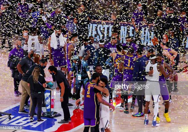 The Los Angeles Lakers celebrate their win over Denver Nuggets in Game Five of the Western Conference Finals during the 2020 NBA Playoffs at...