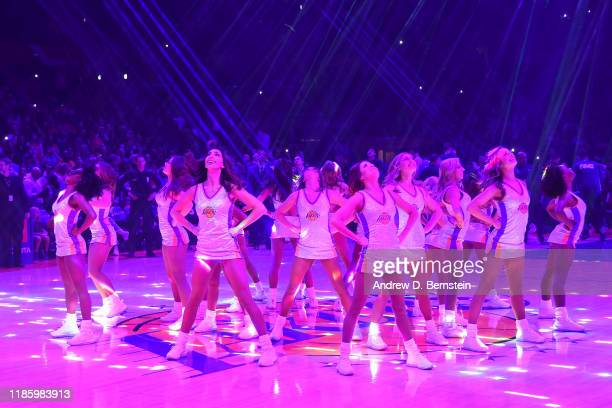The Los Angeles Lakers cheerleaders perform before the game between the Los Angeles Lakers and the Dallas Mavericks on December 1, 2019 at STAPLES...
